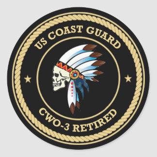USCG Retired Chief Warrant Officer 3 Classic Round Sticker