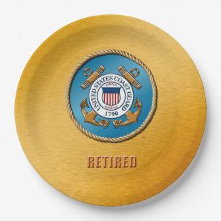 USCG Retired Custom Paper Plates 9 Inch Paper Plate