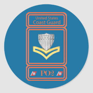 USCG Second Class Petty Officer Logo Classic Round Sticker