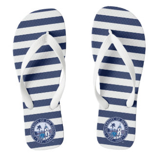 USD | Est. 1949 - Stripe Pattern Flip Flops