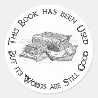 Used Book Gift Bookplate Classic Round Sticker