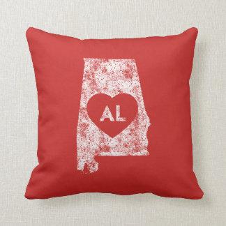 Used I Love Alabama State Throw Pillow
