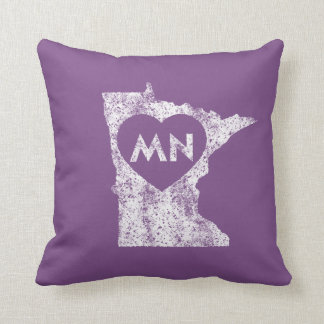 "Used I Love Minnesota State Throw Pillow 16"" x 16"""