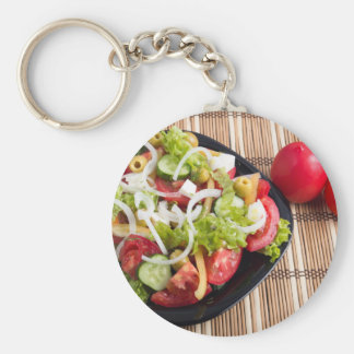 Useful and natural vegetable salad of tomato basic round button keychain