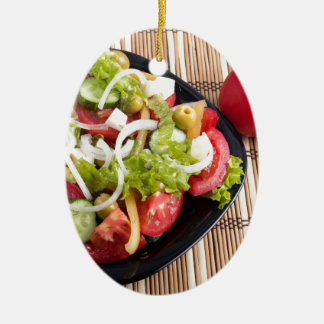 Useful and natural vegetable salad of tomato ceramic oval ornament