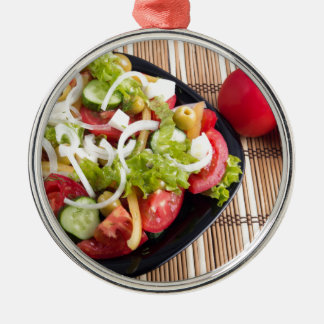 Useful and natural vegetable salad of tomato Silver-Colored round ornament