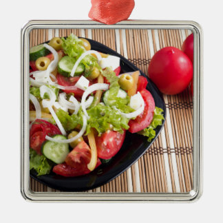 Useful and natural vegetable salad of tomato Silver-Colored square ornament