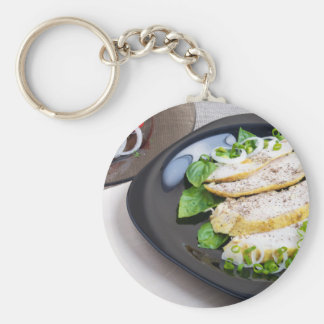 Useful and tasty homemade dinner of baked chicken basic round button keychain