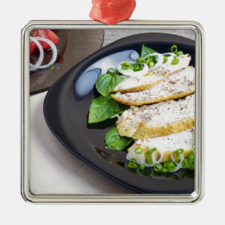 Useful and tasty homemade dinner of baked chicken Silver-Colored square ornament