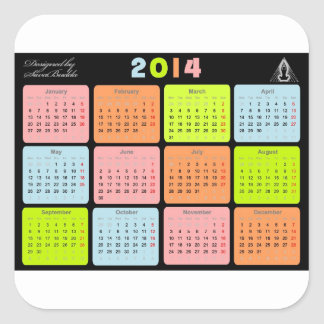 Useful gift with calendar for 2014 square sticker