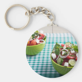 Useful vegetarian food from raw tomatoes, cucumber basic round button keychain