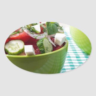 Useful vegetarian food from raw tomatoes, cucumber oval sticker
