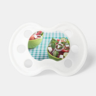 Useful vegetarian food from raw tomatoes, cucumber pacifier
