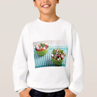 Useful vegetarian food from raw tomatoes, cucumber sweatshirt