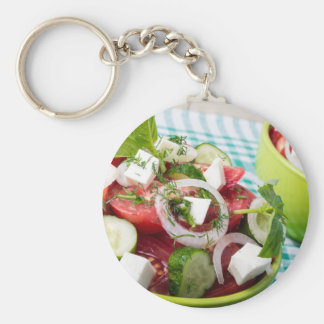 Useful vegetarian salad with raw tomatoes basic round button keychain