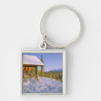 USFS Schnauss Cabin rental in Winter ovelooking Silver-Colored Square Keychain
