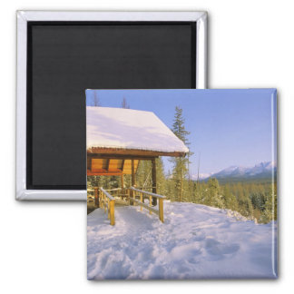 USFS Schnauss Cabin rental in Winter ovelooking Square Magnet