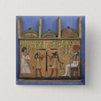 Ushabti casket with a scene of psychostasis 2 inch square button