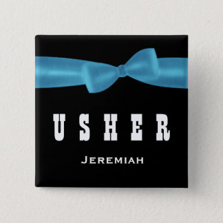 USHER Wedding Custom Name V02R BLUE 2 Inch Square Button