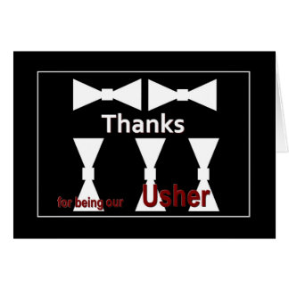 USHER with Bow Ties - Wedding Attendant THANK YOU Card