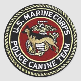 USMC CANINE UNIT CLASSIC ROUND STICKER