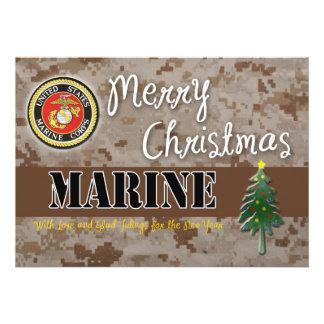 "USMC Christmas Card Camo 5"" X 7"" Invitation Card"