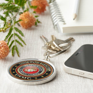 USMC Emblem [Special Edition] [3D] Silver-Colored Round Keychain