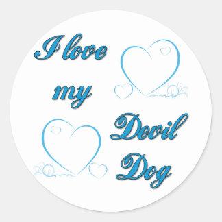 USMC I Love My Devil Dog Classic Round Sticker