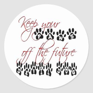 USMC Keep your paws off the future devil dog Classic Round Sticker