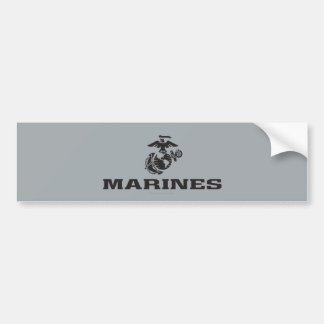 USMC Logo Stacked - Black Bumper Sticker