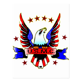 USMC Old School Red White & Blue Eagle Tattoo Postcard
