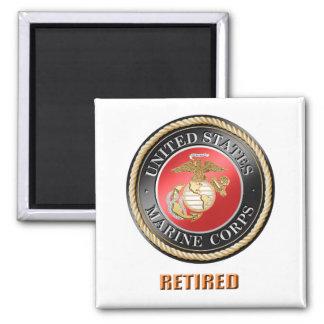USMC Retired Square Magnet