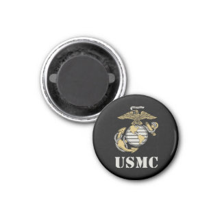 USMC [stencil] 1 Inch Round Magnet