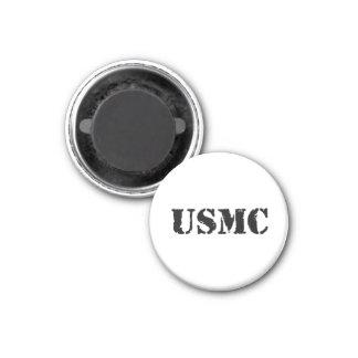 USMC [stencil text] 1 Inch Round Magnet