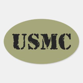 USMC [stencil text] Oval Sticker