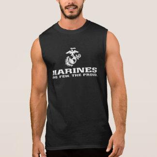 USMC The Few The Proud Logo Stacked - White Sleeveless Shirt