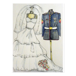 USMC Wedding Postcard