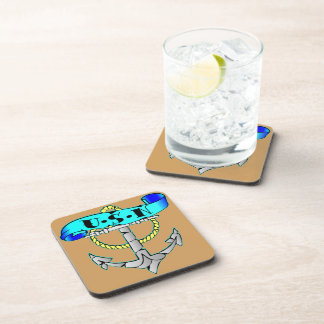USN Anchor Tattoo Drink Coaster
