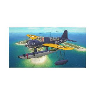 USN OS2U Kingfisher over Wake Island Canvas Print