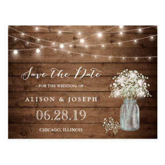 (USPS) Baby's Breath String Lights Save the Date Postcard