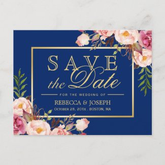 (USPS) Pink Floral Gold Navy Blue Save the Date Announcement Postcard