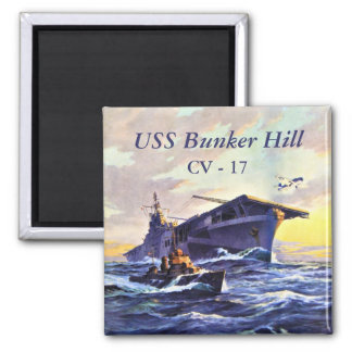 USS Bunker Hill at sea Square Magnet