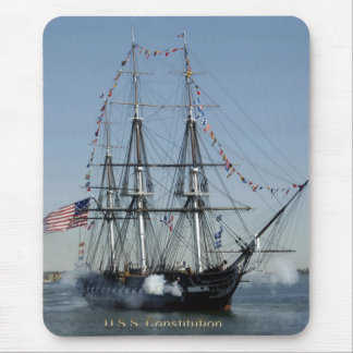 USS Constitution Firing Cannons Mouse Pad