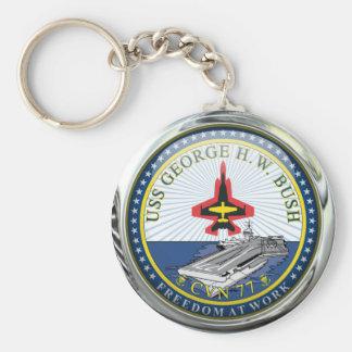 USS George H W Bush CVN-77 Basic Round Button Keychain