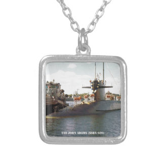USS JOHN ADAMS SILVER PLATED NECKLACE
