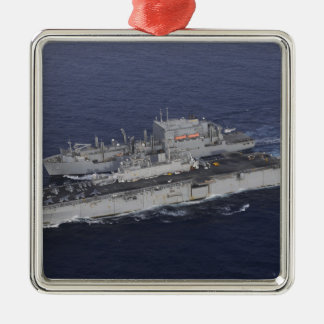 USS Kearsarge Silver-Colored Square Ornament