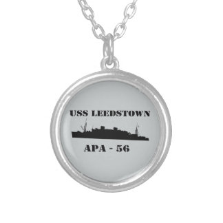 USS Leedstown Silhouette - APA 56 Silver Plated Necklace