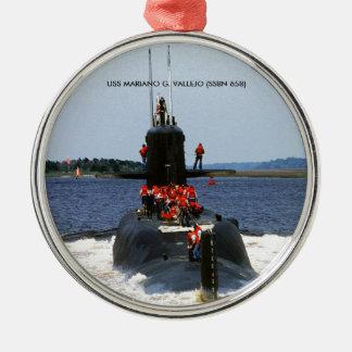 USS MARIANO G. VALLEJO Silver-Colored ROUND ORNAMENT
