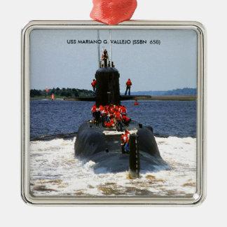 USS MARIANO G. VALLEJO Silver-Colored SQUARE ORNAMENT