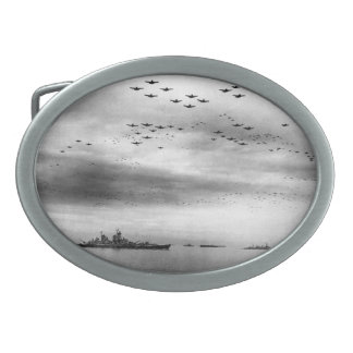 USS Missouri Flyover Surrender of Japan Oval Belt Buckle